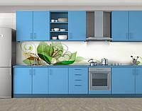 Цветок, Кухонный фартук на самоклеящееся пленке с фотопечатью, Абстракции, зеленый