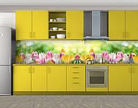 Утро в саду тюльпанов, Пленка для кухонного фартука с фотопечатью, Цветы, зеленый