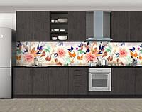 Полевые цветы, Защитная пленка на кухонный фартук с фотопечатью, Цветы, белый