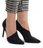 Польские туфли на шпильке в черном цвете