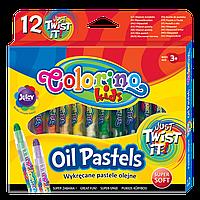 Пастель масляная стержень выкручивается в пластиковом контейнере 12 сочных цветов Colorino