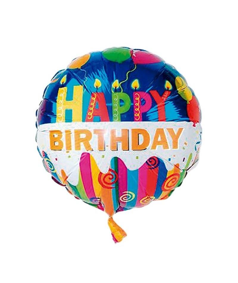 Фольгированный круглый шар, HAPPY BIRTHDAY 04 - 44 см (18 дюймов)