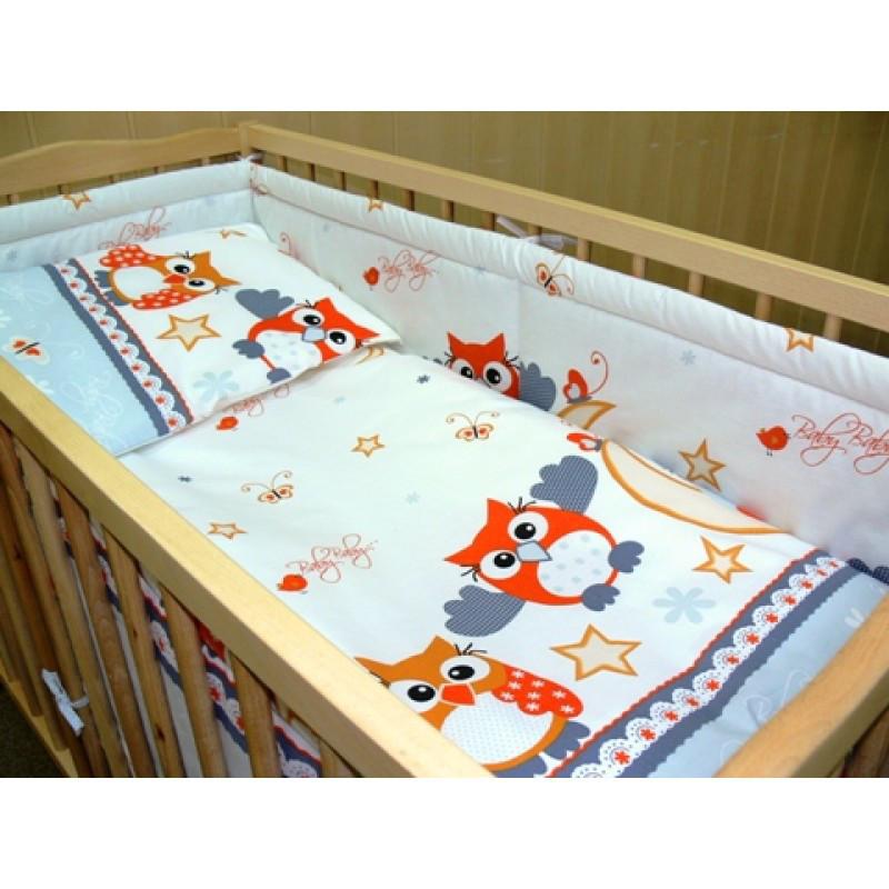 Комплект постільної білизни в дитячу ліжечко Сова сірий з 3 елементів (ПІДОДІЯЛЬНИК 90*120 см)