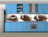Чашки и кофе в зернах, Самоклеящаяся стеновая панель для кухни, Еда, напитки, белый