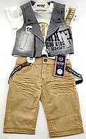Детские костюмы 1, 2 года Турция летний с шортами джинсовый для мальчиков серый (КД16)