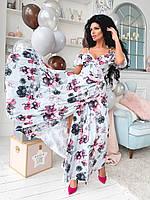 Женское стильное платье  на запах в пол  бретели на завязках с открытыми плечами