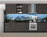 Кухонный фартук Заснеженные вершины гор, виниловая самоклеющаяся пленка, наклейка на кухню, скинали на стену, Голубой, 600*3000 мм