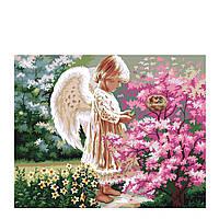 Картина по номерам Роспись на холсте Ангелочек и птички MG1048 40*50
