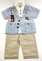 Детские костюмы 2, 3 года Турция с шортами нарядный для мальчиков голубой (КД9)
