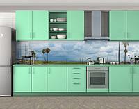 Кухонный фартук Пальмы и небо, виниловая самоклеющаяся пленка, наклейка на кухню, скинали на стену, Голубой, 600*3000 мм