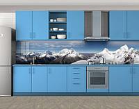 Кухонный фартук Вершины гор со снегом, виниловая самоклеющаяся пленка, наклейка на кухню, скинали на стену, Голубой, 600*3000 мм