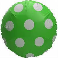 Фольгированный круглый шар, ЗЕЛЕНЫЙ В ГОРОХ - 44 см (18 дюймов)