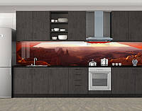 Красный каньон, горы, Кухонный фартук на самоклеящееся пленке с фотопечатью, Природа, коричневый