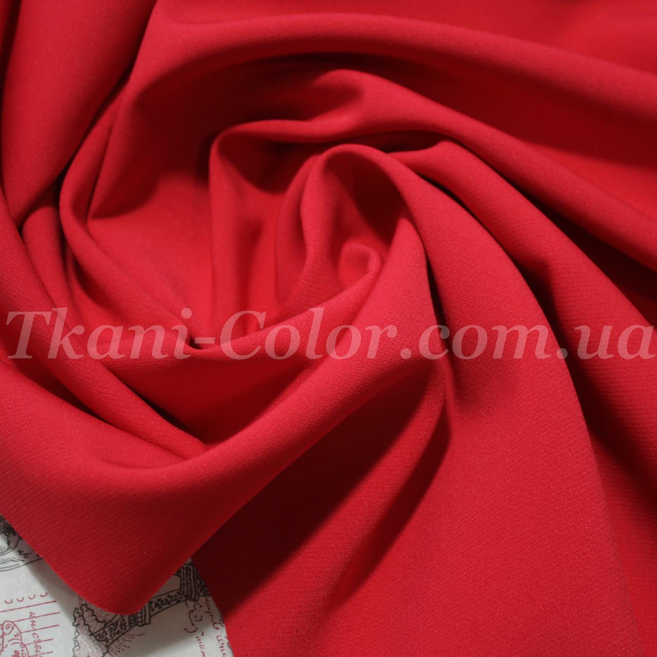 Костюмная ткань креп барби красная