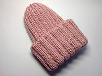Шапка женская вязаная (50% шерсть) розовая с люрексом