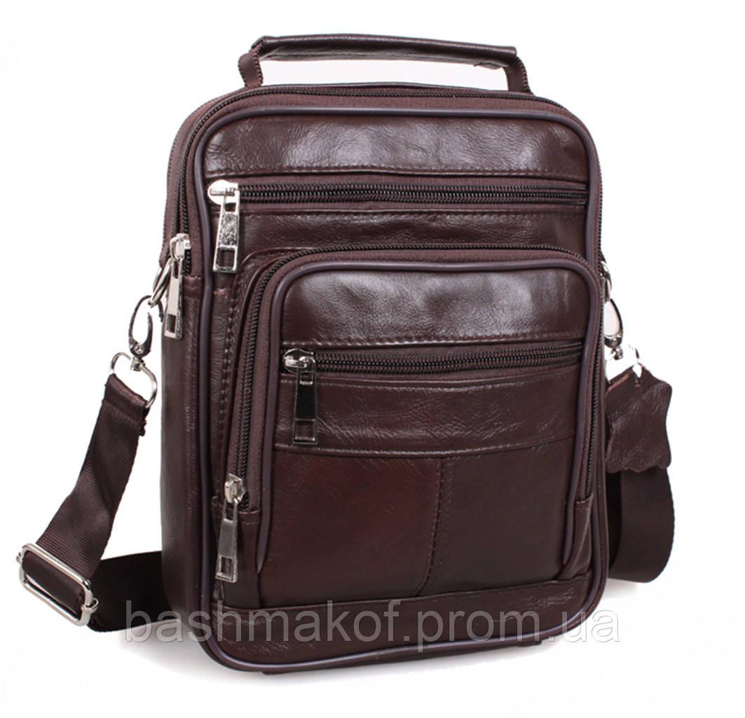 9b4c799417d7 Кожаная мужская сумка 203 коричневая барсетка через плечо натуральная кожа  23х18х7см - Bashmakoff.NET в
