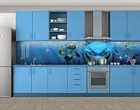 Акула из мультика, Стеновая панель для кухни с фотопечатью, Рисунки, синий