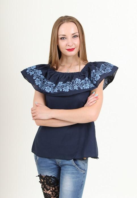 Домотканая блуза без рукава с вышитыми воланами