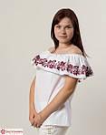 Красная блуза с цветочной вышивкой белого цвета, фото 3
