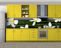 Белые цветы и бамбук, Самоклеящаяся стеновая панель для кухни, Природа, зеленый