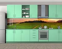 Зеленая равнинная дорога, Кухонный фартук на самоклеящееся пленке с фотопечатью, Природа, зеленый