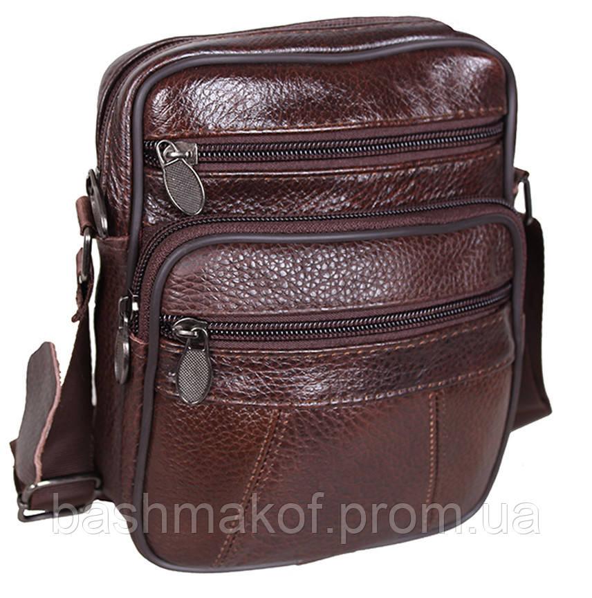 4baae3f0ed90 Кожаная мужская сумка Bon R010-1 коричневая барсетка через плечо натуральная  кожа 19х16х8см