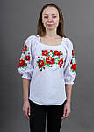Нарядная белая вышитая блуза женская с маками, фото 2