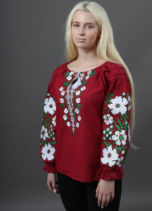 Бордовая вышиванка женская с длинным рукавом