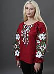 Красивая домотканая блуза цвет хаки с вышивкой крестиком, фото 3