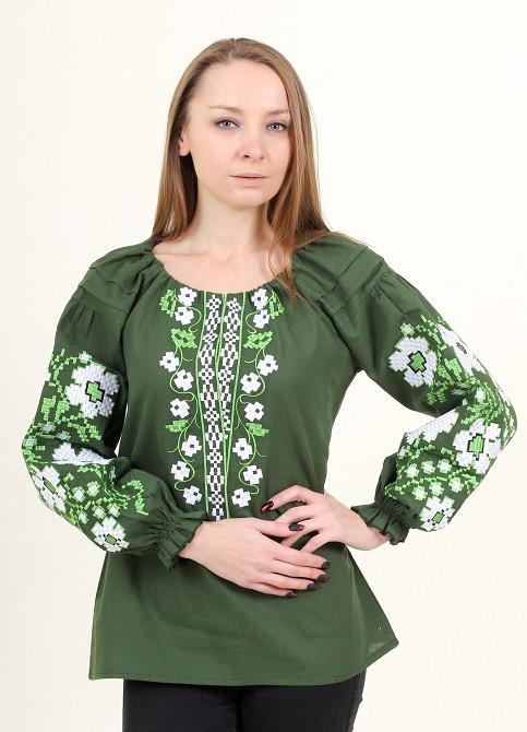 Красивая домотканая блуза цвет хаки с вышивкой крестиком
