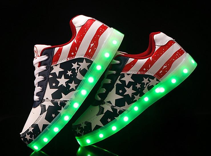 bc13fba96177e9 American Step, Американский флаг светящиеся кроссовки LED (USB подзарядка),  размер 37,