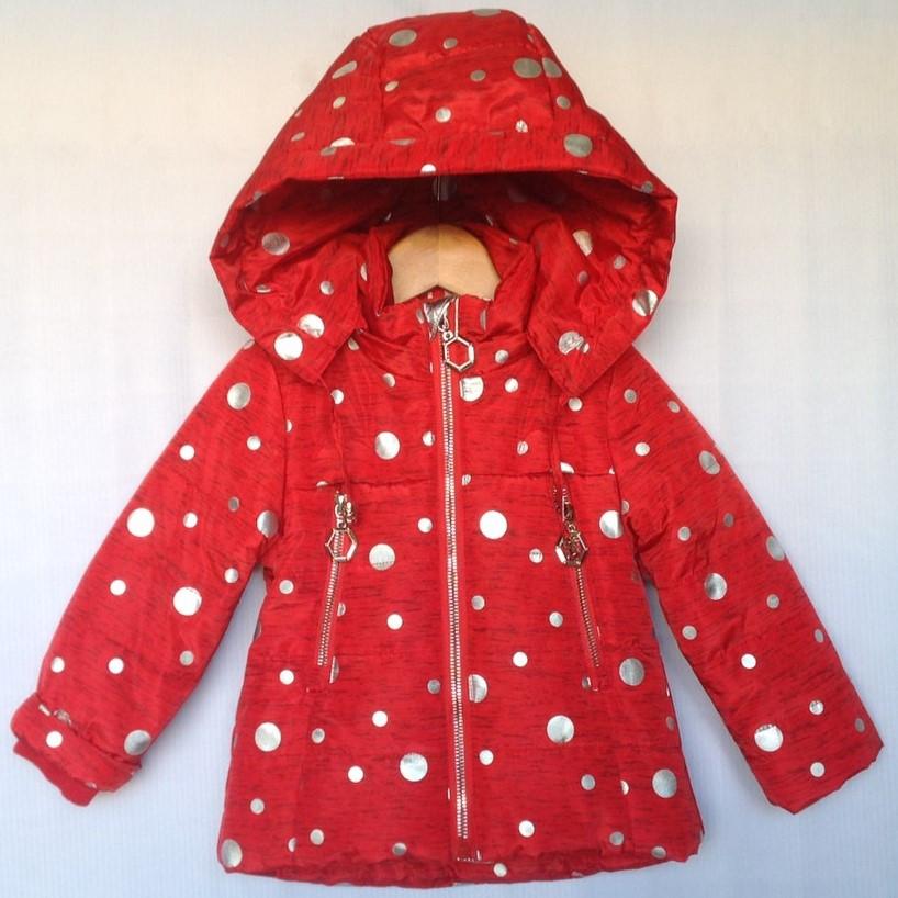 """Куртка детская демисезонная """"Горох"""" #HL-026 для девочек до 3 лет (74-80-86-92-98см). Красная. Оптом."""