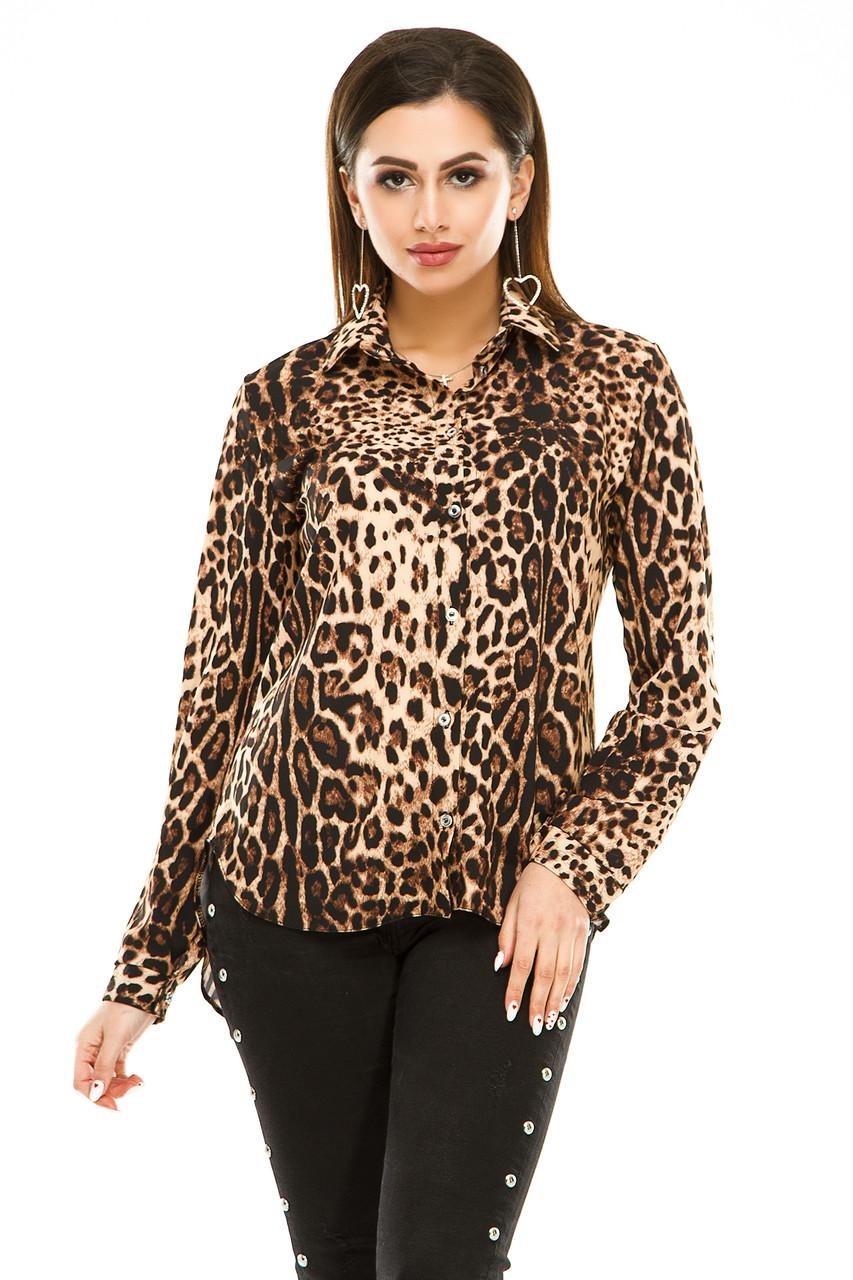 Блузка 294 коричневый леопард