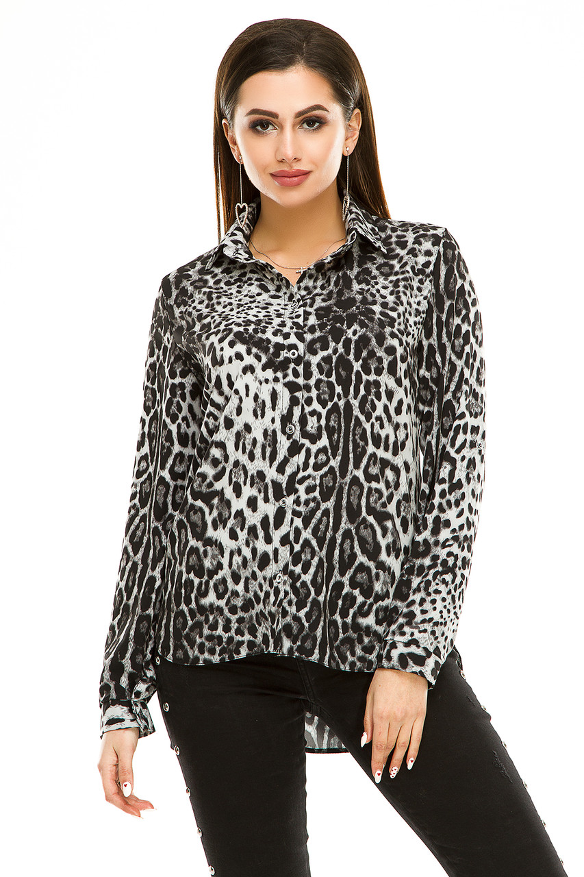 Блузка 294 серый леопард