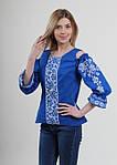 Голубая женская блуза с синей вышивкой крестиком, фото 3