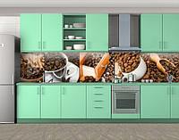 Кофе и специи, Наклейка на кухонный фартук, Еда, напитки, коричневый