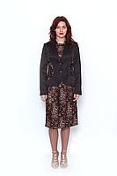 Жакет женский коричневый  , EVA, однобортный на пугоцах, с  декоративными вставками.