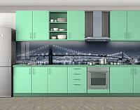Холодный свет мостов, Стеновая панель для кухни с фотопечатью, Мосты, серый
