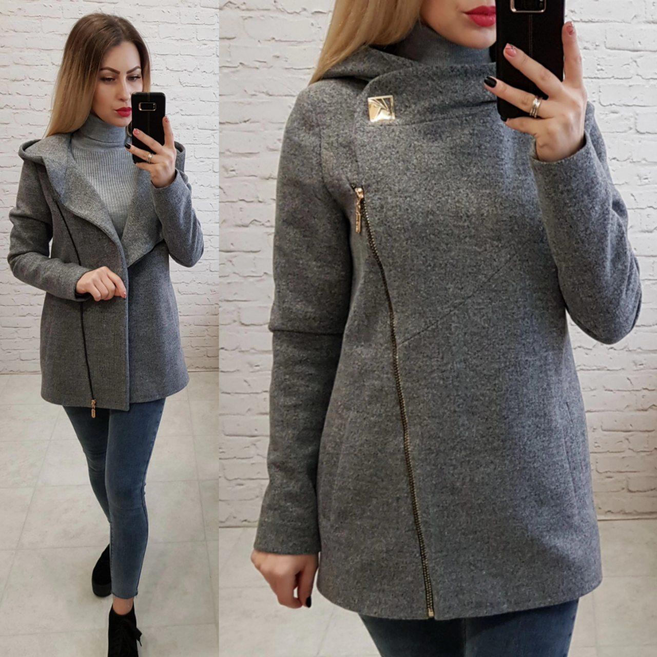 Пальто кашемировое с капюшоном, модель 156, цвет - серый
