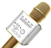Бездротовий караоке мікрофон Bluetooth Wster Q9 Gold з динаміком і USB-роз'ємом для флешки Золотистий