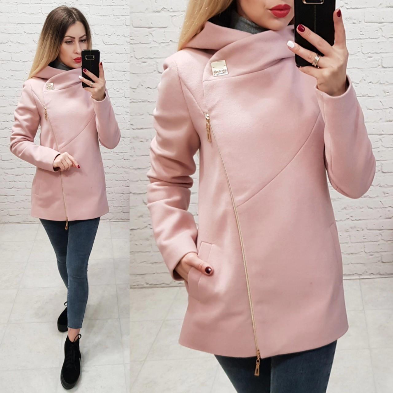 Пальто кашемировое с капюшоном, модель 156, цвет - розовый