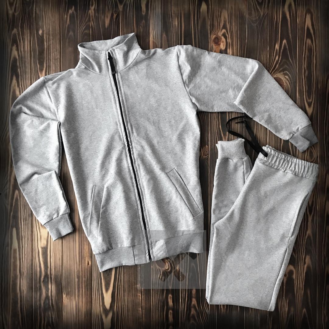 Спортивный костюм без бренда серый на молнии
