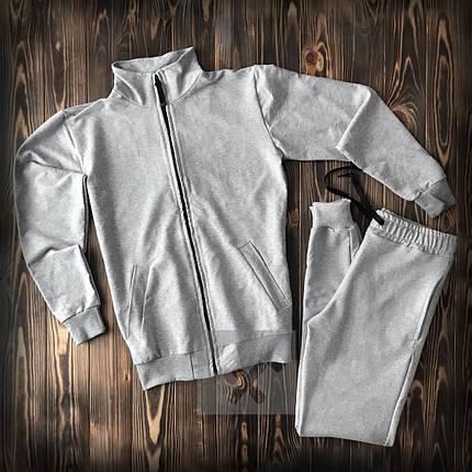 Спортивный костюм без бренда серый на молнии , фото 2