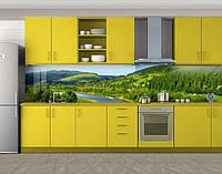 Речная долина Карпаты, Кухонный фартук на самоклеящееся пленке с фотопечатью, Природа, зеленый