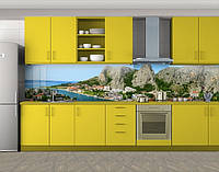 Кухонный фартук Город под горой, виниловая самоклеющаяся пленка, наклейка на кухню, скинали на стену, Серый, 600*3000 мм