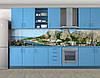 Город под горой, Стеновая панель с фотопечатью, Архитектура, серый - Фото