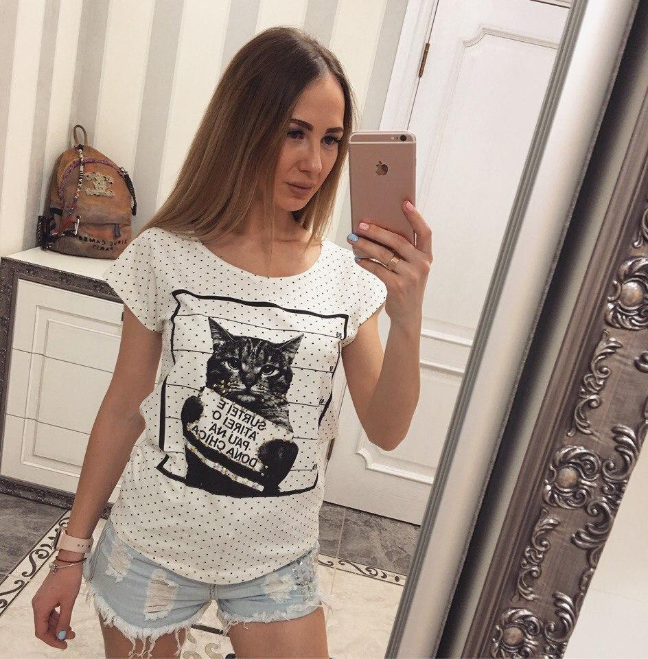 """Футболка женская хлопковая с принтом """"Кот"""""""