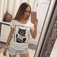 """Футболка женская хлопковая с принтом """"Кот"""", фото 1"""