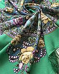 Звездочка моя 1808-9, павлопосадский платок шерстяной  с шелковой бахромой, фото 8