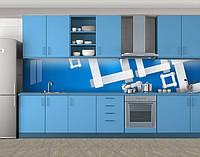 Кухонный фартук Деревянные квадраты, виниловая самоклеющаяся пленка, наклейка на кухню, скинали на стену, Голубой, 600*3000 мм